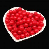 Красный цвет. Бусинки акриловые цветные. 6 мм. 200 шт   # 050