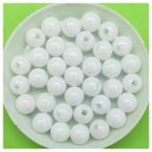Белый цвет. Бусинки акриловые цветные. 8 мм 400 гр # 050