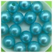 Голубой с перламутром цвет. Бусинки акриловые цветные. 12 мм 400 гр  # 050