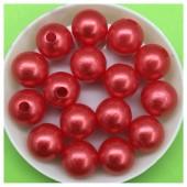 Красный с перламутром цвет. Бусинки акриловые цветные. 12 мм 400 гр  # 050