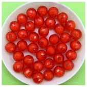 8 мм. 50 гр. Красный полупрозрачный цвет. Бусинки резка  Пришивные № 3.  055