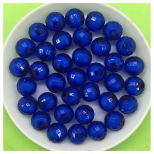 8 мм. 50 гр. Синий полупрозрачный цвет. Бусинки резка  Пришивные № 5
