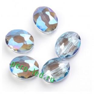 Голубой полупрозрачный цвет. Овальные бусинки с кристаллическим покрытием 16*20  1 шт  #15. #08