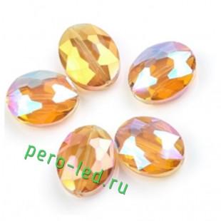 Оранжевый хамелеон цвет. Овальные бусинки с кристаллическим покрытием 16*20  1 шт  #7. #08