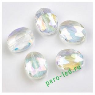 Прозрачный хамелеон цвет. Овальные бусинки с кристаллическим покрытием 16*20  1 шт  #1.  #08