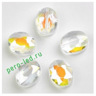 Прозрачный хамелеон цвет. Овальные бусинки с кристаллическим покрытием 16*20  1 шт   #4.  #08