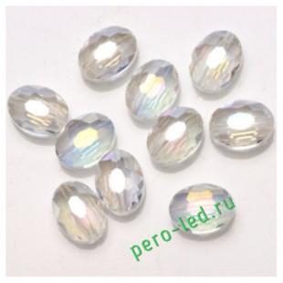 Прозрачный цвет. Овальные бусинки с кристаллическим покрытием 16*20  1 шт   #2.  #08