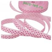 Розовый в красный горошек цвет. Репсовая лента. 2.5 см. 5 метр