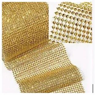 Золото цвет. Лента имитация страз. Ширина 12 см