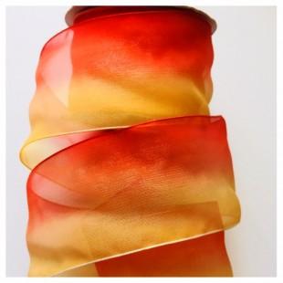 30 м. Красно-желтый цвет. Цветная капроновая лента 5 см