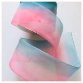 Розово-голубой цвет. Цветная капроновая лента 5 см  25 м