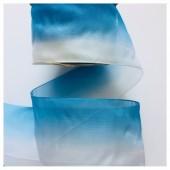 Бело-голубой цвет. Цветная капроновая лента 5 см 25 м