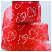Красный цвет. Капроновая лента с сердечком. 5 см