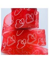 25 м. Красный цвет. Капроновая лента с сердечком. 5 см
