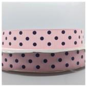 1 м. Розовый в черный горошек цвет. Репсовая лента. 2.5 см