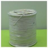 1 мм.  Белый цвет. Вощенный хлопковый шнур. 100 м