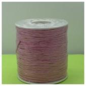 1 мм.  Розовый цвет. Вощенный хлопковый шнур. 100 м