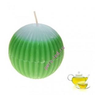 Шар гофрированный. Свеча ароматическая. Зеленый чай.5.5 х 5.5 см