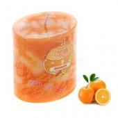 4.5х4.5х7.5 см. Апельсин. Свеча ароматическая столбик в крапинку.