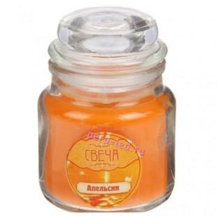 6х6х8.5 см. Апельсин. Свеча ароматическая в стекле с крышкой