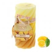5х5х10 см. Лимон. 2-х цвет. гофрированная. Волна. Свеча ароматическая столбик.