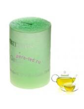 Зеленый чай.  Свеча ароматическая пеньковая. 5 см х 5 см х 7.5 см