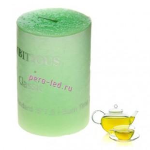 Свеча ароматическая пеньковая. Зеленый чай. 5 см х 5 см х 7.5 см
