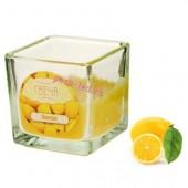 Лимон. Свеча ароматическая в стекле. Квадрат. 5х5х5 см