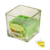 Зеленый чай. Свеча ароматическая в стекле. Квадрат. 5х5х5 см
