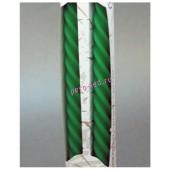 2 шт. Зеленый цвет. Свеча классическая витая в коробочке.  2 см X 2 см X 25 см