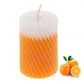5х5х7.5 см Апельсин. Свеча ароматическая столбик. Гофрированная.