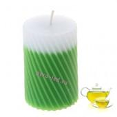 5х5х7.5 см Зеленый чай. Свеча ароматическая столбик. Гофрированная.