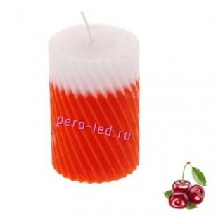 5х5х7.5 см. Вишня. Свеча ароматическая столбик. Гофрированная.