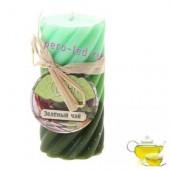 5х5х10 см. Зеленый чай.  2-х цвет. гофрированная. Волна. Свеча ароматическая столбик.