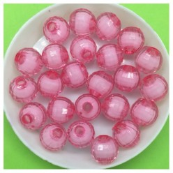 10 мм. 50 гр. Розовый полупрозрачный цвет. Бусинки резка  Пришивные № 2.  055