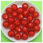 10 мм. 50 гр. Красный полупрозрачный цвет. Бусинки резка Пришивные № 3.  055