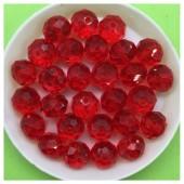 10 мм. 70 шт. Красный прозрачный цвет. Бусинки круглые с огранкой стеклярус № 10