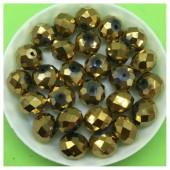 10 мм. 70 шт. Золото цвет. Бусинки круглые с огранкой стеклярус  № 17