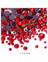 SS12. Красный цвет.  #9. Стразы клеевые холодной фиксации с плоским основанием. Огранка Люкс 14 граней. Упаковка 1400 шт.