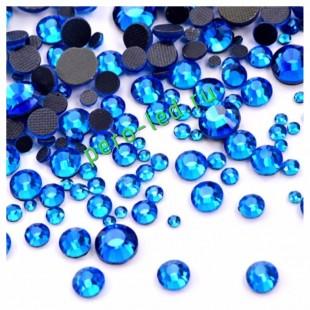 SS12. Синий цвет.  #15. Стразы клеевые холодной фиксации с плоским основанием. Огранка Люкс 14 граней. Упаковка 1400 шт.