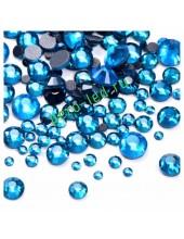 SS16. Голубой цвет.  #11. Стразы клеевые холодной фиксации с плоским основанием. Огранка Люкс 14 граней. Упаковка 1400 шт.