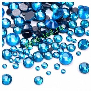 SS12. Голубой цвет.  #21. Стразы клеевые холодной фиксации с плоским основанием. Огранка Люкс 14 граней. Упаковка 1400 шт.