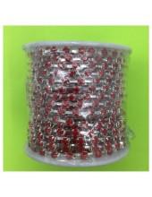 № 16. 1 м. Красный в серебре цвет. Стразы на цепочке.
