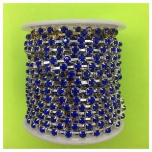 № 16. 9 м. Синий в серебре цвет. Стразы на цепочке.
