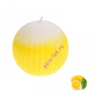 Шар гофрированный. Свеча ароматическая. Лимон.5.5 х 5.5 см