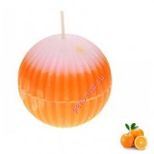 Апельсин.  Шар гофрированный. Свеча ароматическая. 5.5 х 5.5 см