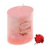4.5х4.5х7.5 см. Нежная роза. Свеча ароматическая столбик в крапинку.