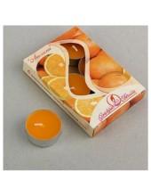 6 шт.  Апельсин. Набор чайный ароматизированных свечей в гильзе. 1уп.