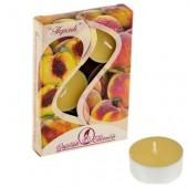 6 шт.  Персик. Набор чайный ароматизированных свечей в гильзе. 1уп.