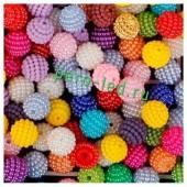 Микс цвет. Ежики. Бусинки цветные акриловые круглые. Bayberry. 14 мм. 20 шт. #10